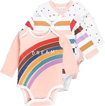 Baby Newborn Onesies Bodysuit Pack Long Sleeve Bodysuits, Rainbow Print, 3-Pack , 24M