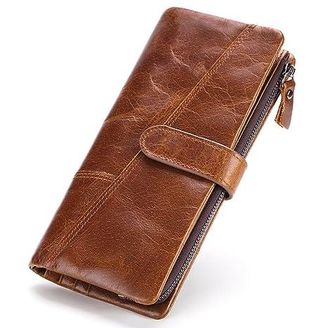 Gendi Billeteras largas con múltiples carteras, billetera de cuero suave de lujo de gran capacidad