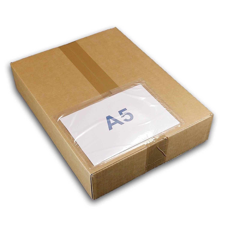 1 000 Pochette A5 porte-documents adhésives transparente, d'Expédition autocollante pour petit colis 225 x 165 mm (A4 plié en 2), pour insertion des documents UGPAN3 1000 UNIVERS GRAPHIQUE