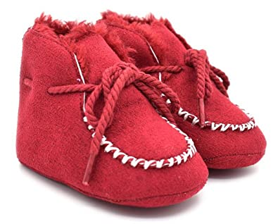 Newborn Baby Shoes Infant Girl Boy Booties Suede Leather Warm Lace-Up Boots