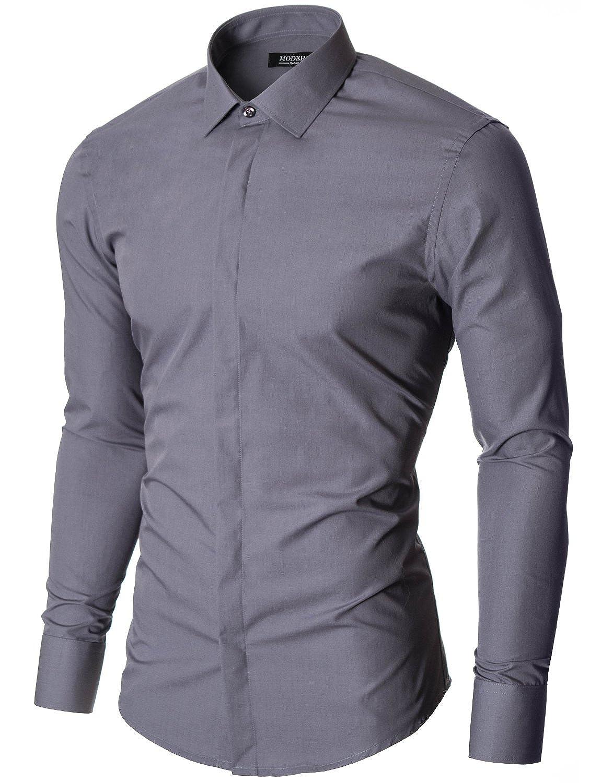 Moderno Mens Dress Shirts Slim Fit Long Sleeve Hidden Button Closure