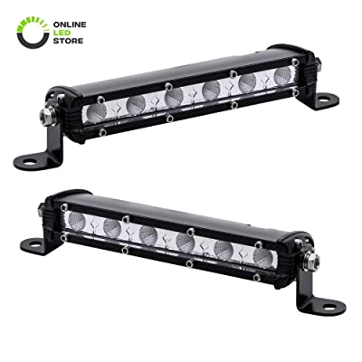 "2pc 7"" Ultra-Slim Single Row Off Road CREE LED Light Bar [1530lm] [18W] [IP68 Waterproof] [12V - 24V] Fog/Driving/Work Lights for Trucks ATV Cars - 60 Degrees Flood Light: Automotive"