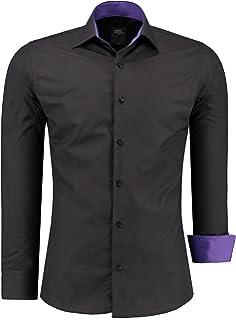 Jeel Hombre Bicolor Slim Fit Figurbetont Business Camisa – Camisa ...