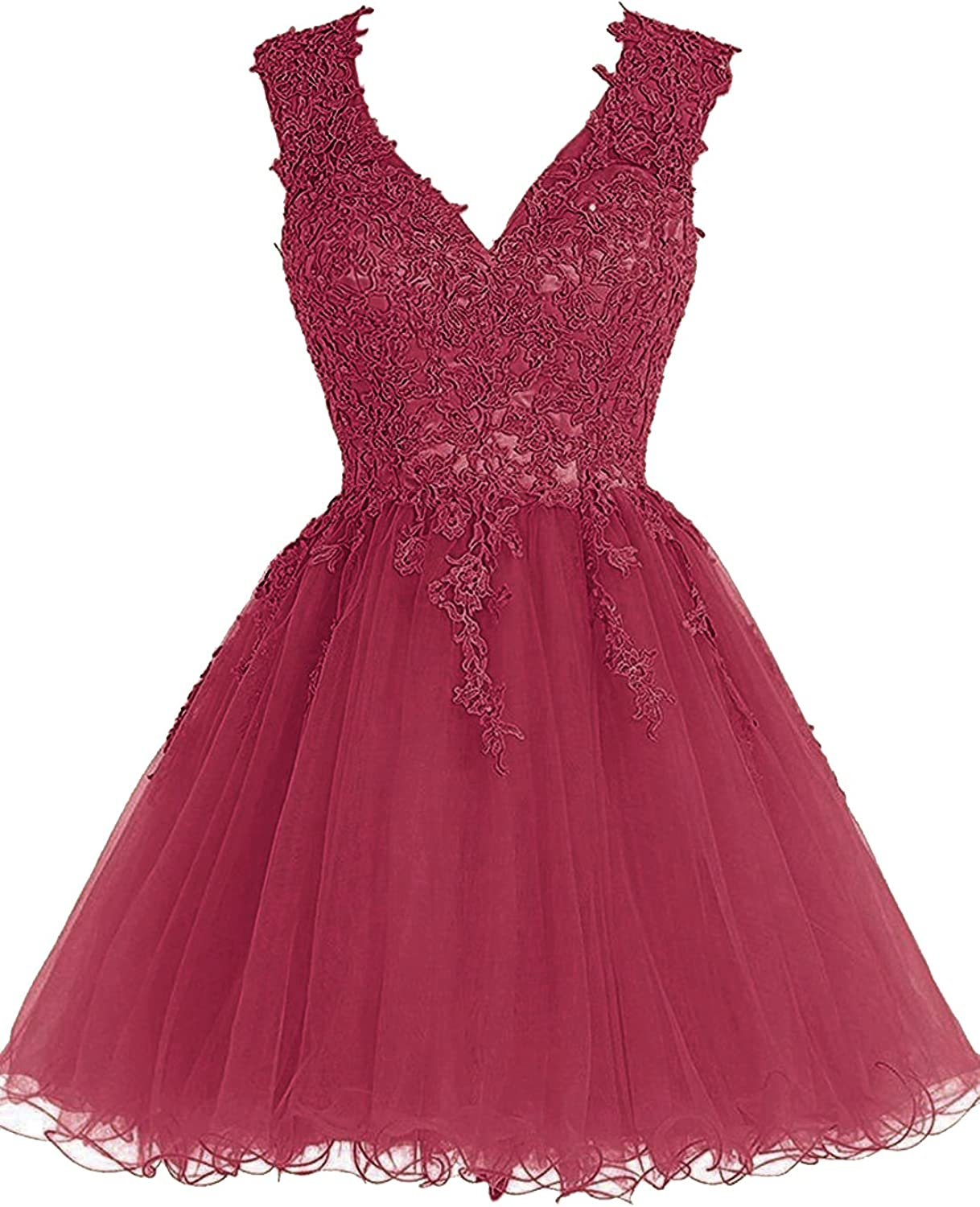 Homecoming Dress Short Cocktail Dress Lace Homecoming Dress Tulle Appliques  Prom Dresses V Neck