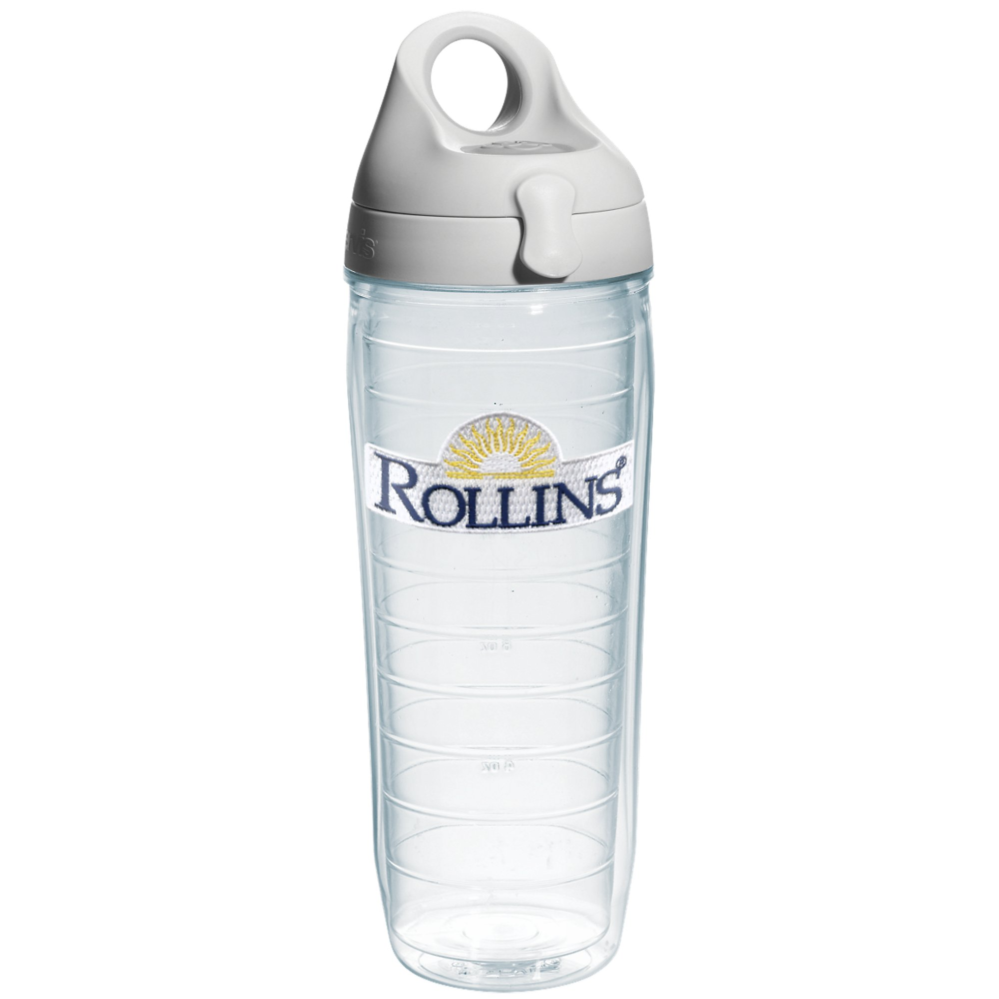 Tervis Rollins College Emblem Individual Water Bottle with Gray Lid, 24 oz, Clear