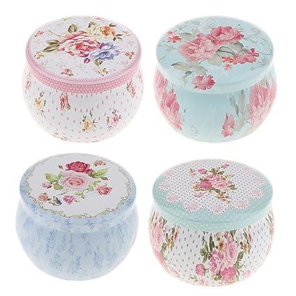 Baoblaze 4X Caja de Lata Sellada Estaño Floral de Caramelo Té Almacenamiento Casero de Cocina