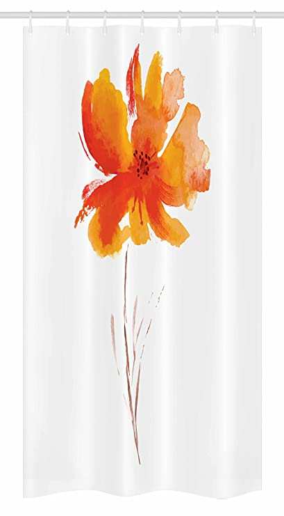 Ambesonne Watercolor Flower Stall Shower Curtain Single Poppy On Plain Clear Background Nature Inspired