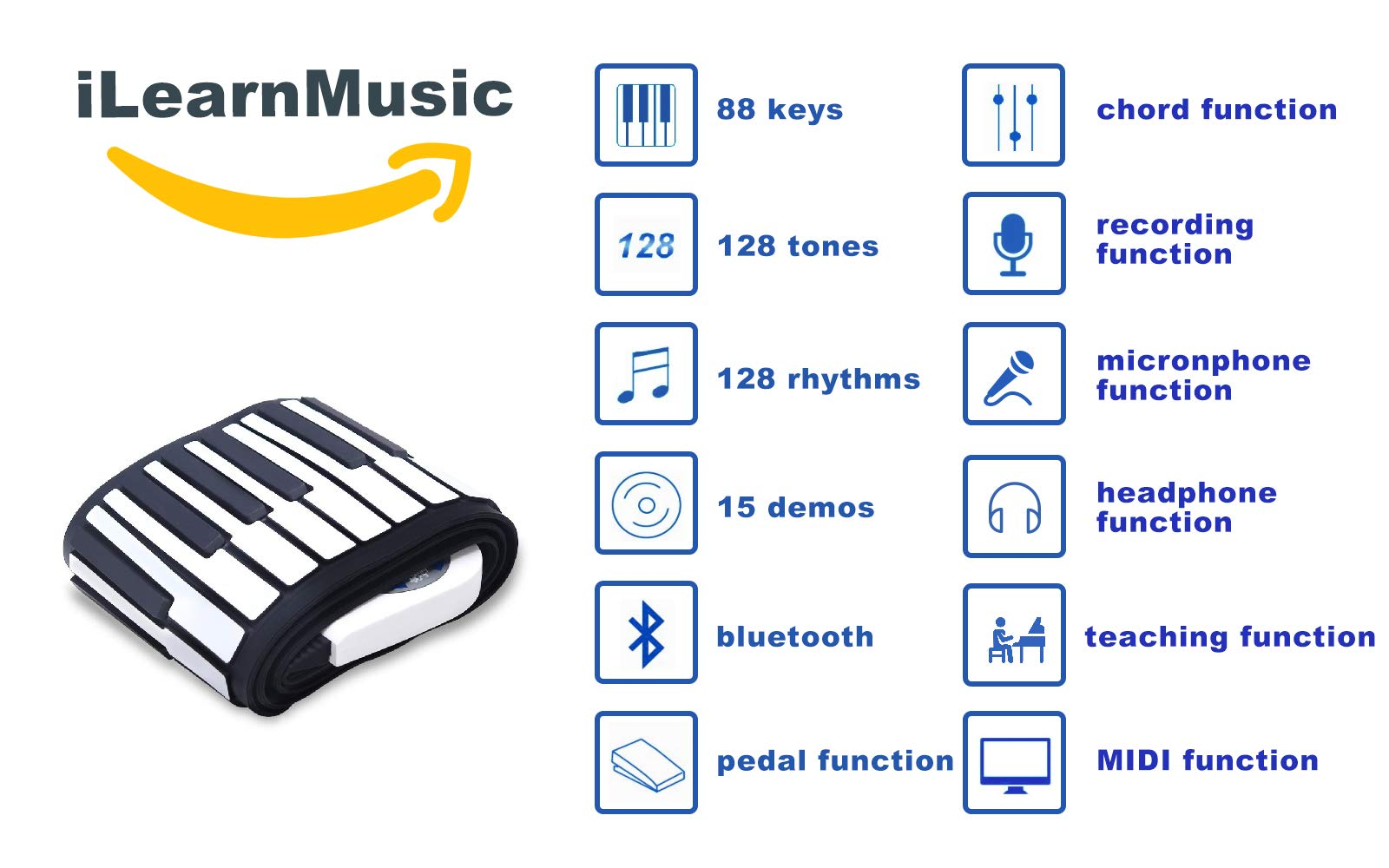 iLearnMusic Roll Up Piano, Premium Grade Silicone, Built-in Speakers - Educational Piano (61 Keys (F61)) by iLearnMusic (Image #4)