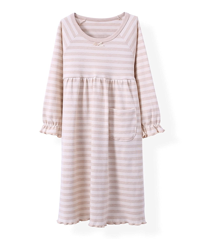 Spring Girls Stripes Nightgowns Pure Cotton Sleep Dresses Cotton Sleepwear