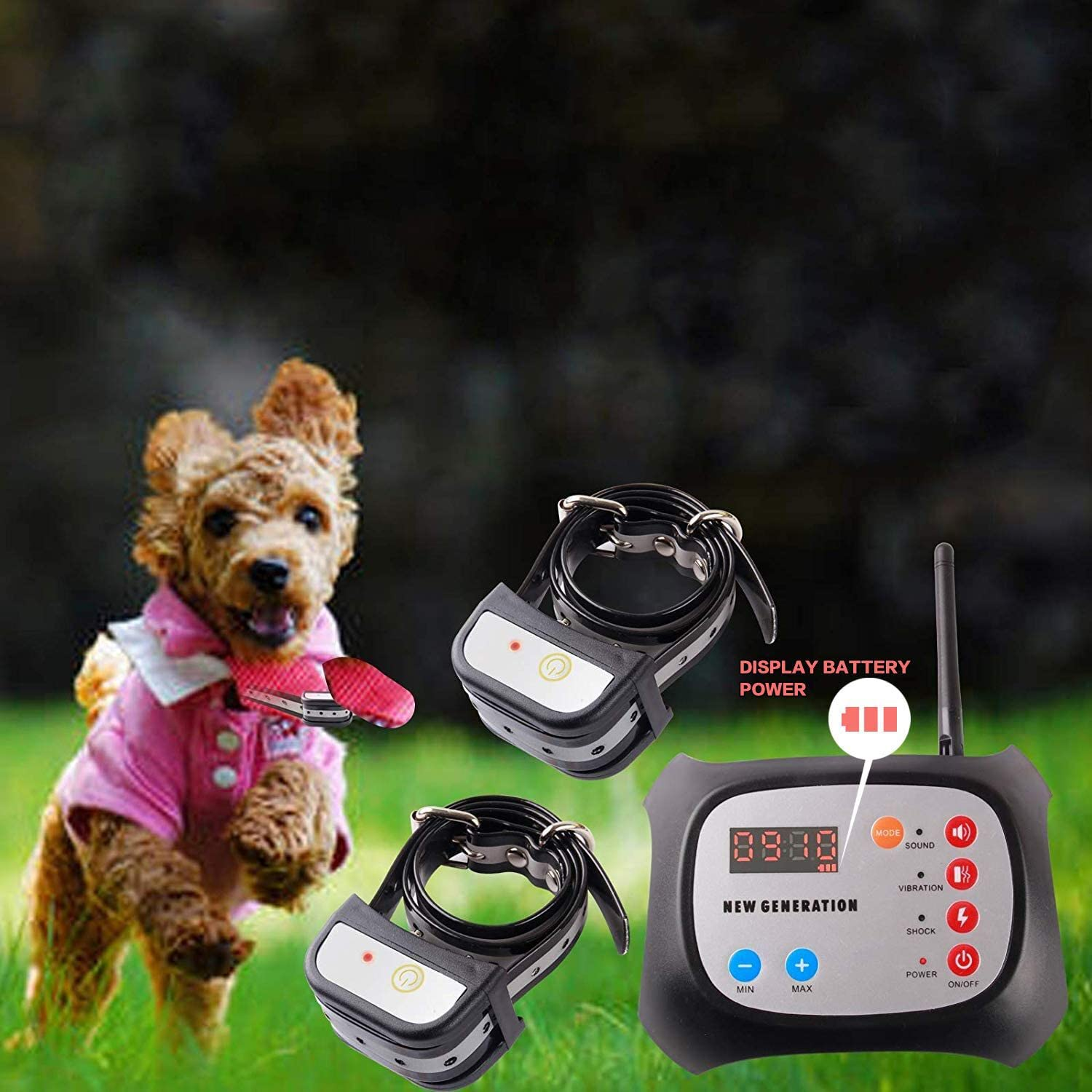 JUSTPET Wireless Dog Fence Electric & Training Collar 2-in-1 System, Adjustable Control Range 1000 Feet, Wireless Fence Dog Boundary Container, Waterproof Rechargeable Collar Receiver