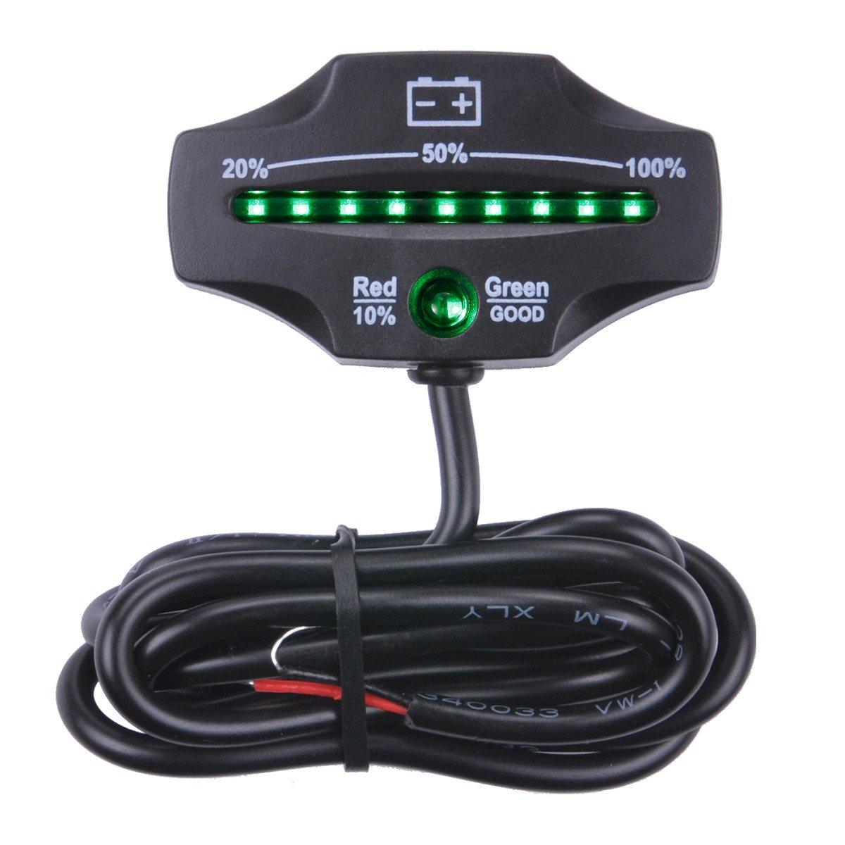 12V 24V Lead-acid LED Battery Indicator Gauge Meter for Motorcycle Golf Carts Car Marine ATV
