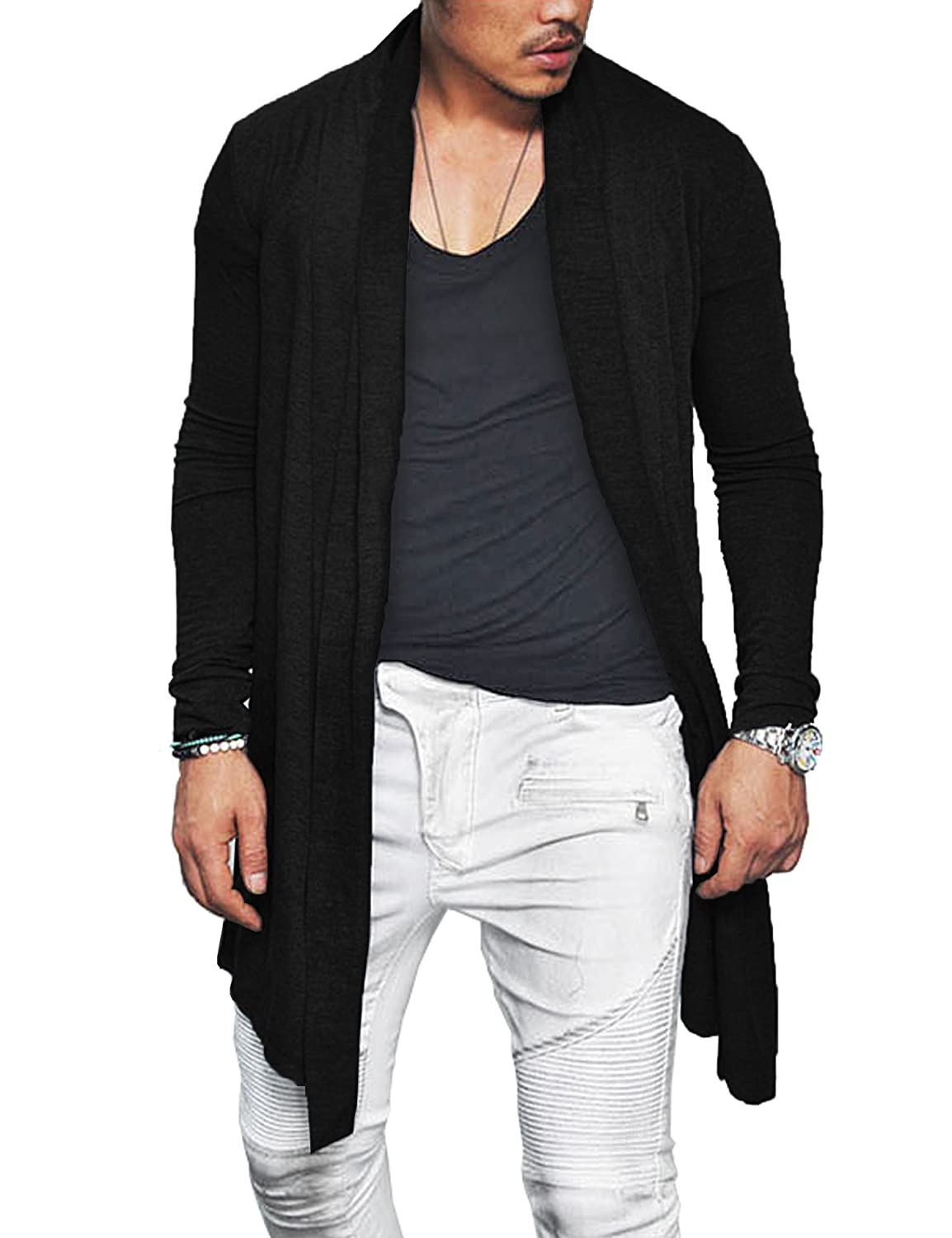 Stunner Men's Spring Slim With Hood Sweater Casual Long Cardigan ...
