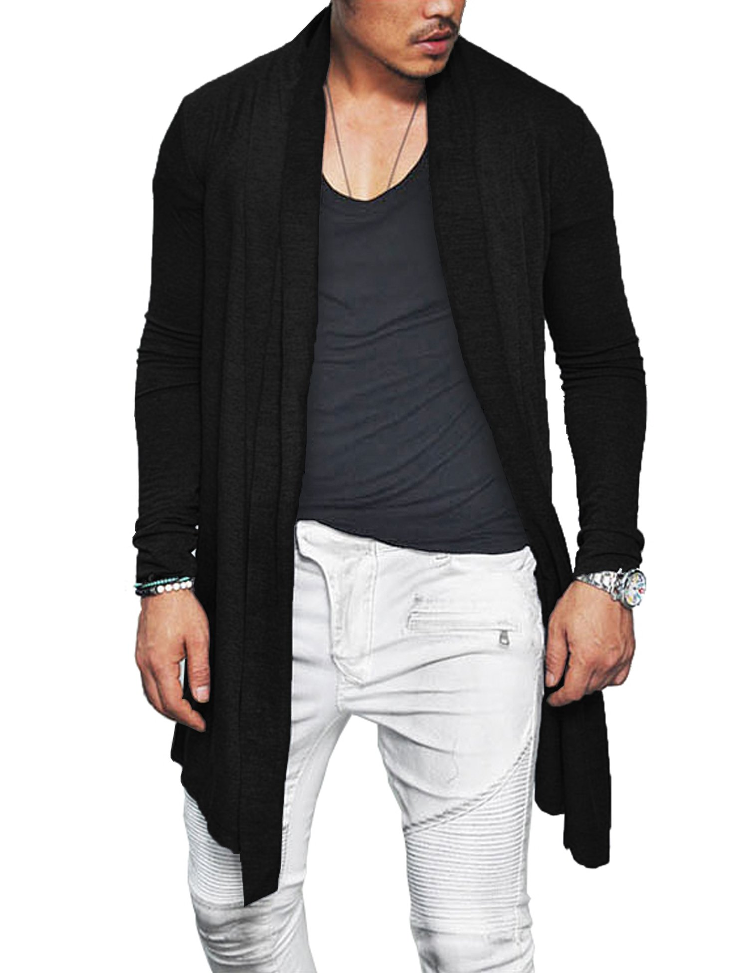 COOFANDY Men's Ruffle Shawl Collar Long Sleeves Cardigan (Medium, Black)