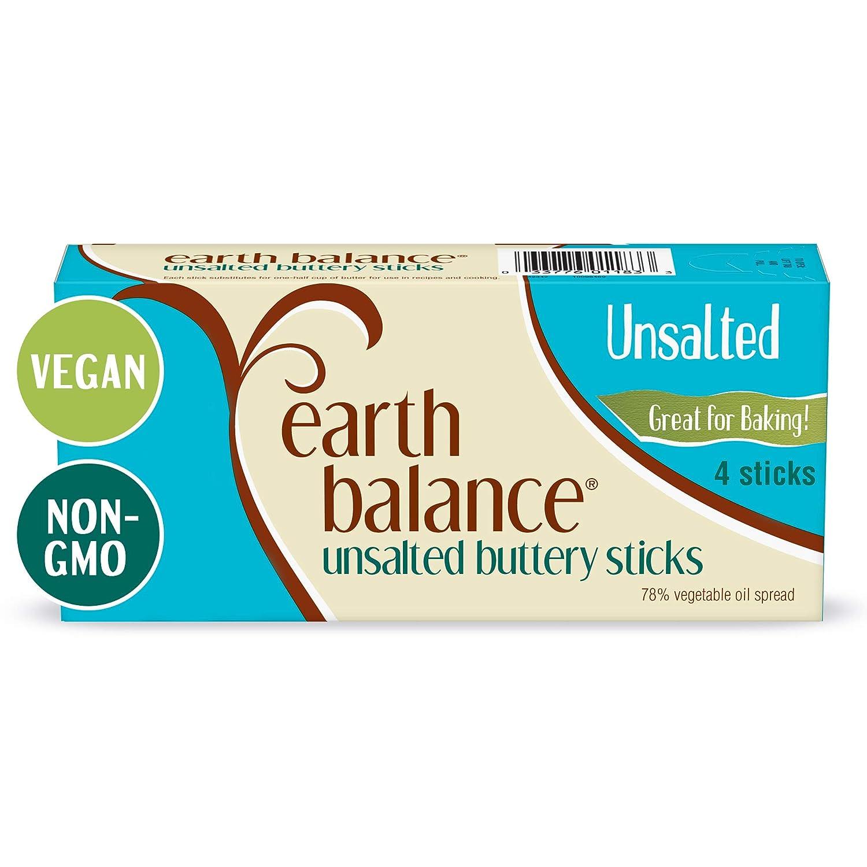 Earth Balance Unsalted Buttery Sticks, Vegan, 1 lb. 4 Sticks, 16 oz.