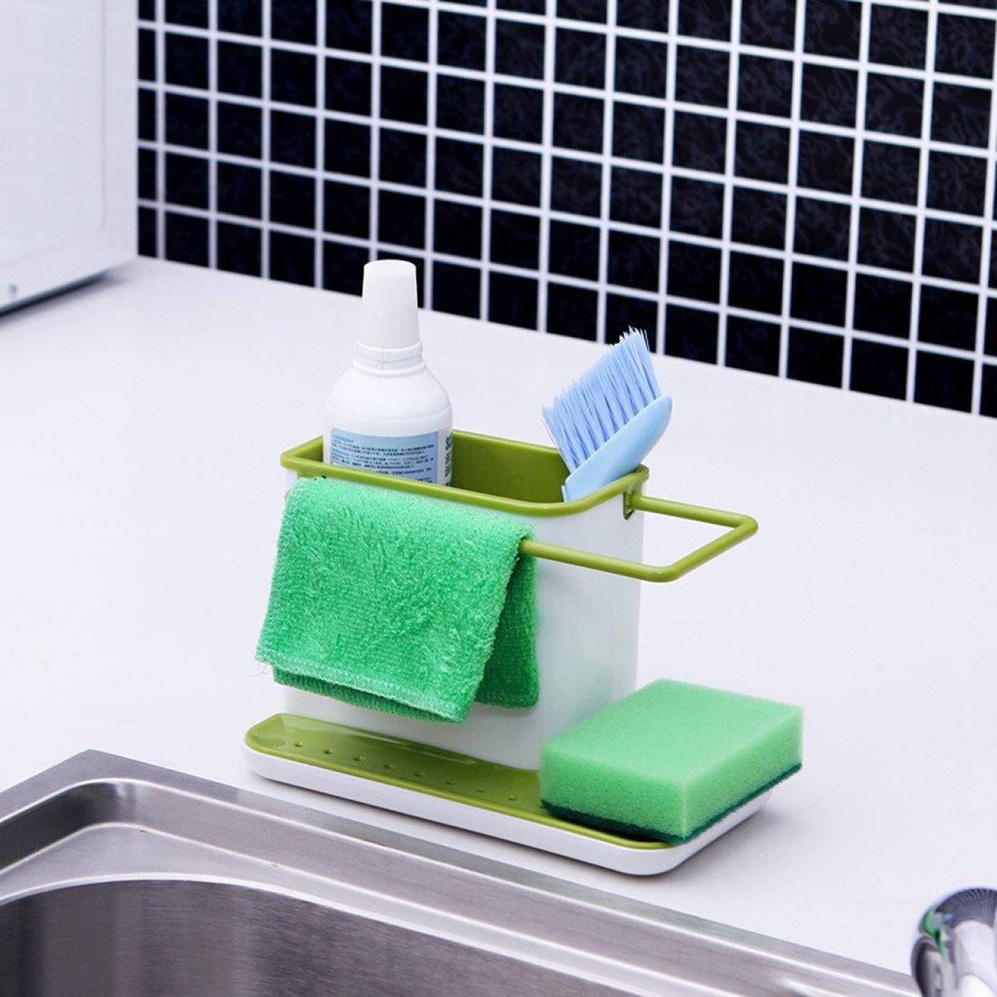 Organizador de fregadero para fregadero de cocina, organizador de lavabo, escurridor de fregadero, organizador de zona de lavabo, color blanco/verde LLFS