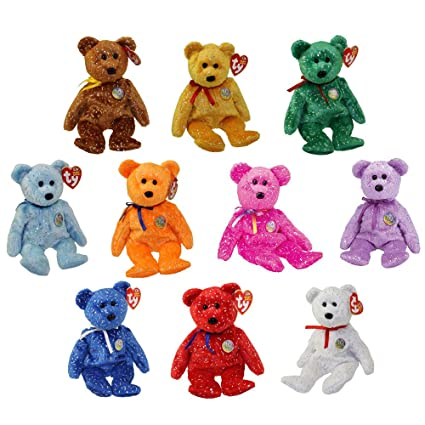 abb36b74ea5 Image Unavailable. Image not available for. Color  TY Beanie Babies - SET  OF 10 DECADE BEAR COLORS