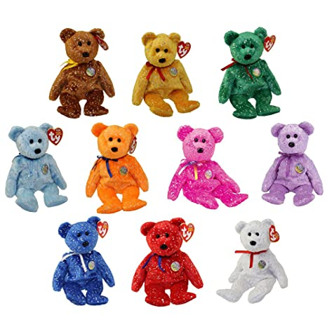 Amazon.com  TY Beanie Babies - SET OF 10 DECADE BEAR COLORS  Toys   Games 4f6b53f12048
