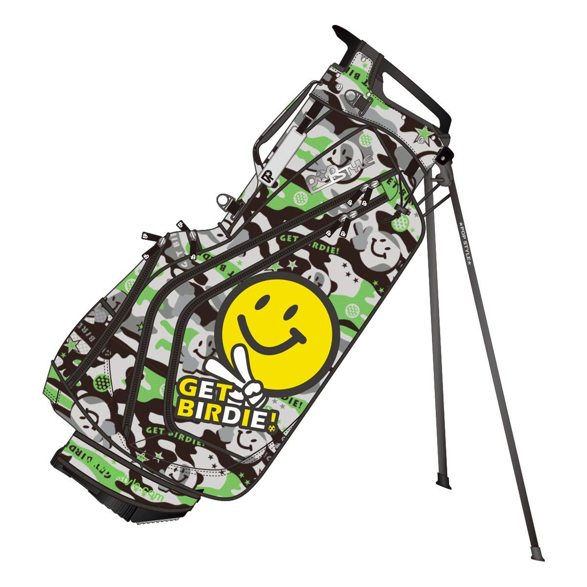 WINWIN STYLE(ウィンウィンスタイル) キャディーバッグ POP STYLE GET BIRDIE ! LST Light Weight Stand Bag 9.0型 47インチ対応 ユニセックス CB-911 グレー デザイン:総プリント&エナメルアップリケ刺繍