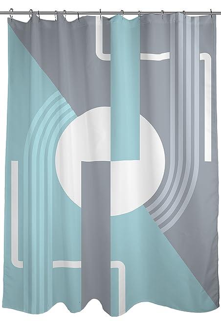 Art Deco Shower Curtain, Fabric, Size 71u0026quot; X 74u0026quot;, Blue And
