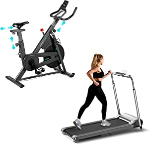 OVICX Portable Foldable Treadmill for Home with Bluetooth LED Display Running Machine with Phone Holder Small Treadmill for Small Space Stationary Spin Bike with Magnetic Resistance Exercise Bikes