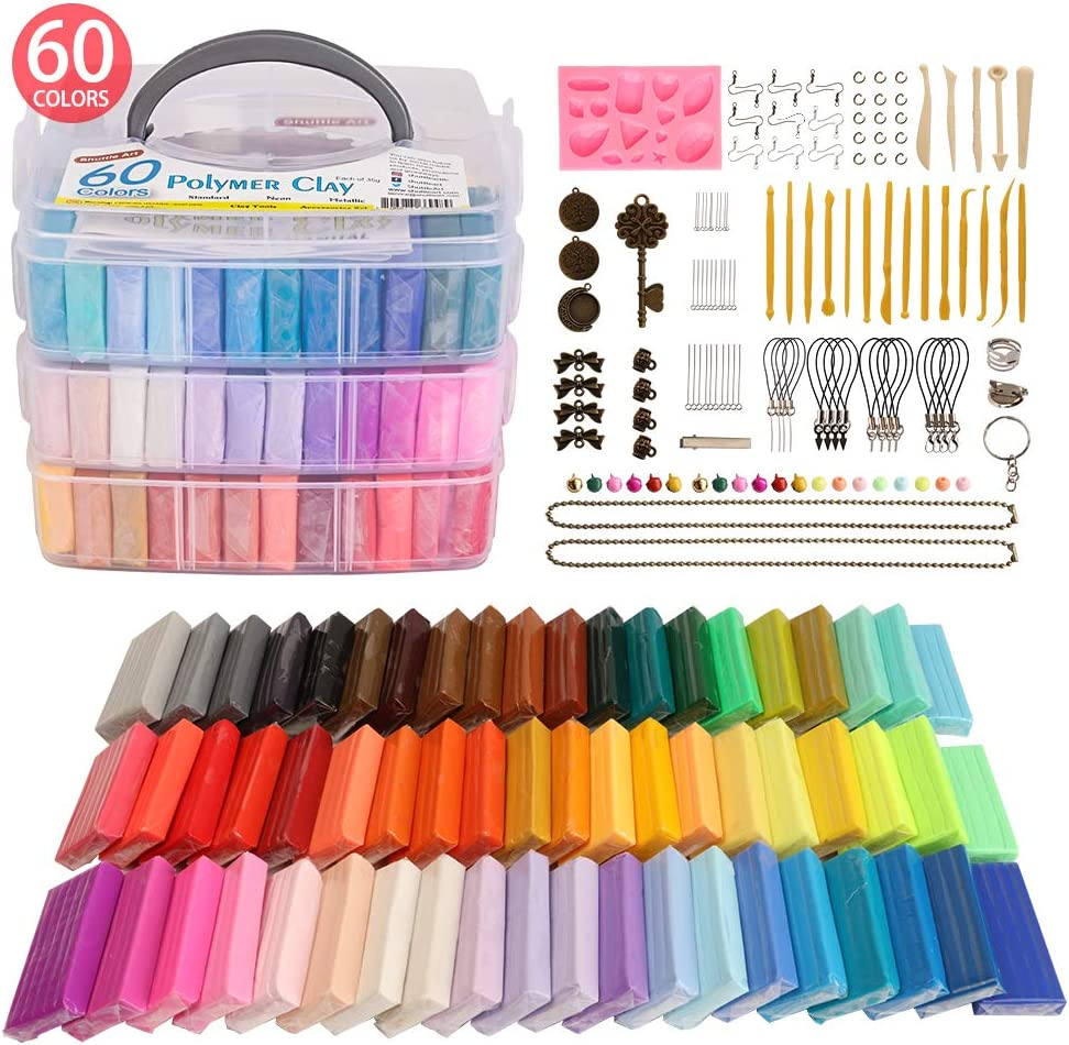 Polymer Clay, 60 Colors Shuttle Art 1.2 oz/Block Oven Bake Modeling Clay Kit with 19 Sculpting Clay Tools and Accessories, Non-Stick, Non-Toxic, Ideal DIY Craft Gifts for Kids