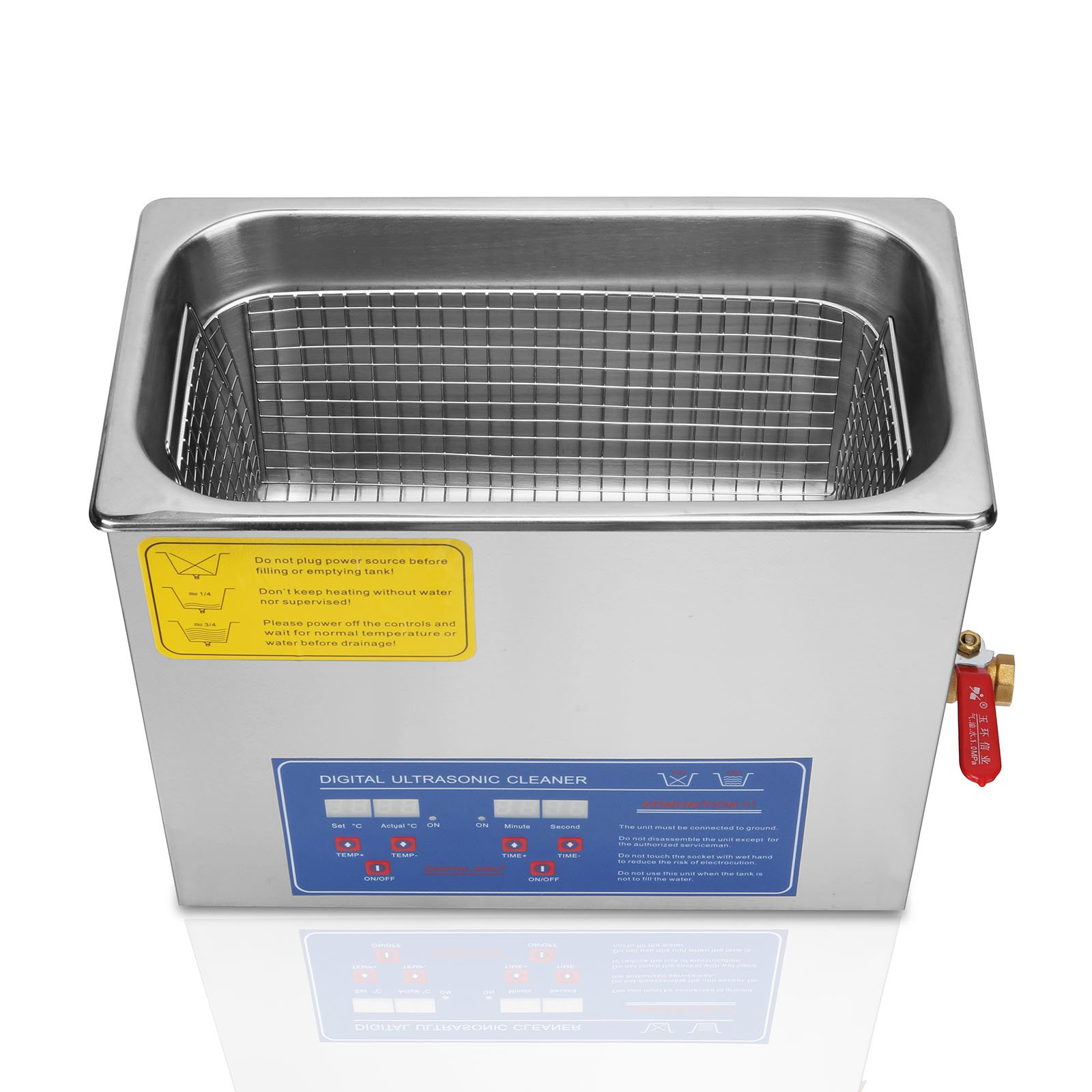 OrangeA Ultrasonic Cleaner Ultrasonic Cleaner Solution Heated Ultrasonic Cleaner 6L for Jewelry Watch Cleaning Industry Heated Heater with Drainage System (6 Liter) by OrangeA (Image #6)