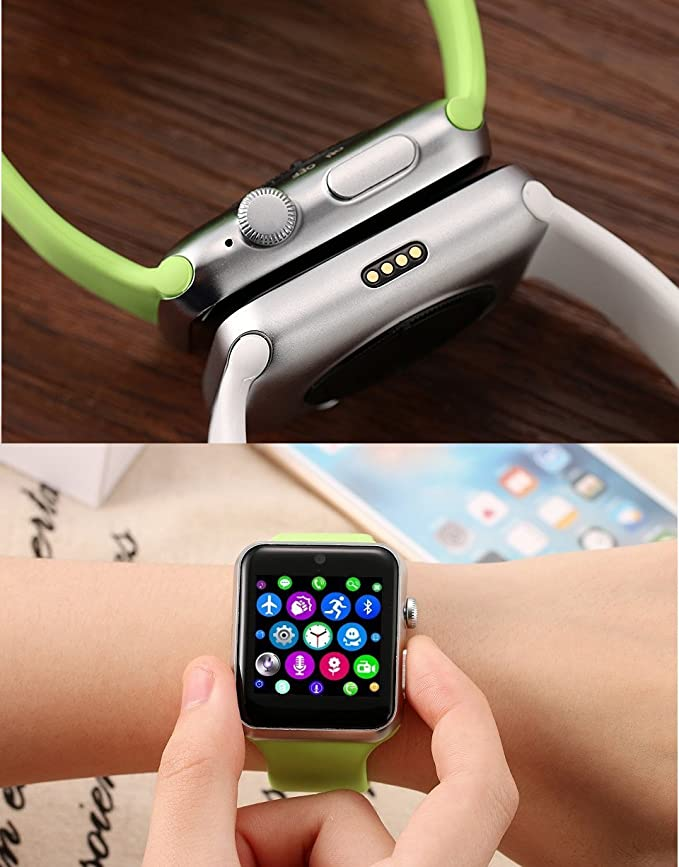 Amazon.com: ⌚ LEMFO LF07 Bluetooth Smart Watch SmartWatch for Apple iPhone iOS Android Smartphones Looks Like Apple Watch Reloj Inteligente (Green Silver): ...