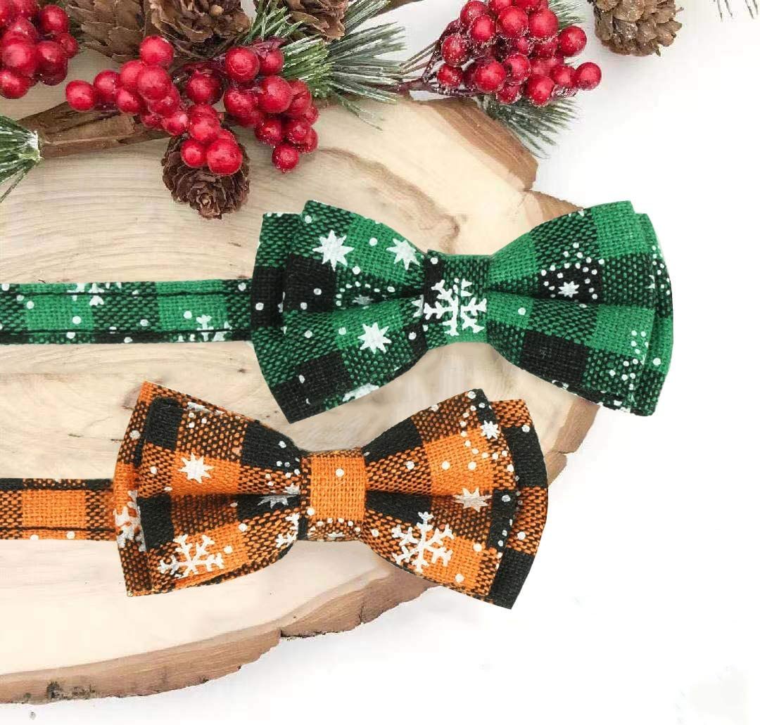 Assorted Colors Available Cat Bowtie Plaid Patterns Pohshido/2 Pack Chirstmas/Cat/Collar/with/Movable/Bowtie Breakaway Buckle/Safety Kitty/Collar/with Tiny/Bell for/Cats and Puppies