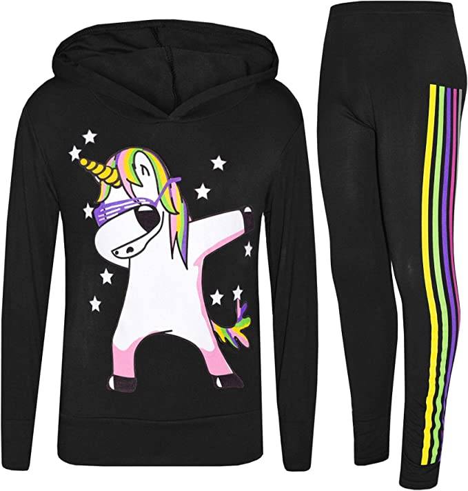 New Girls Black floss Tracksuit Kids Lounge joggers Wear Hooded Christmas Gift
