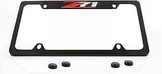 product image for Chevrolet Z71 License Plate Frame Holder (4 Hole / Brass, Black / Top)