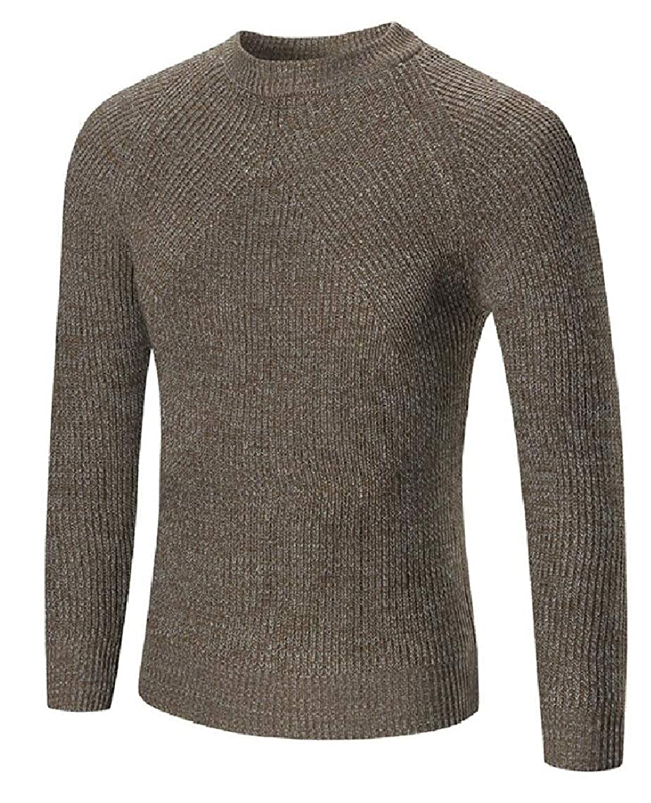 Yayu Mens Slim Fit Cable Knit Long Sleeve Crew-Neck Pullover Sweater
