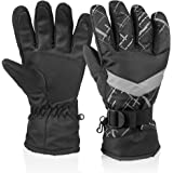 HUO ZAO Winter Snow Ski Gloves, Windproof Water Resistant Glove Breathable Protection Mittens Warm Gloves for Outdoor Cycling Snowboard Hiking Mountain Climbing