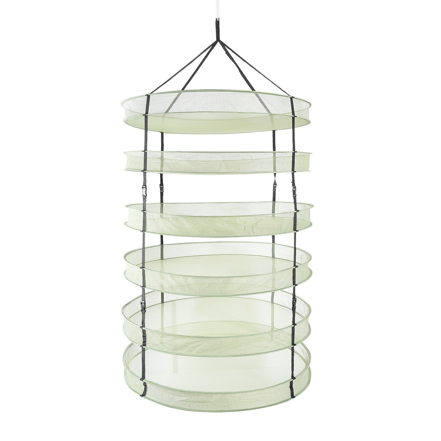 iPower 3 Feet Diameter with 6 Layers Steel Rings Foldable Heavy Duty Hanging Dryer Rack, Collapsible Mesh Hydroponic Drying Rack Net by iPower