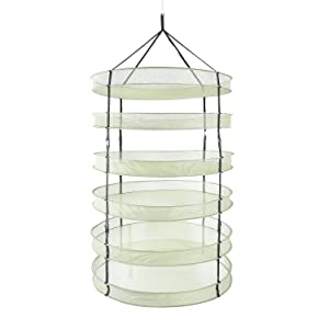 iPower 3 Feet Diameter with 6 Layers Steel Rings Foldable Heavy Duty Hanging Dryer Rack, Collapsible Mesh Hydroponic Drying Rack Net