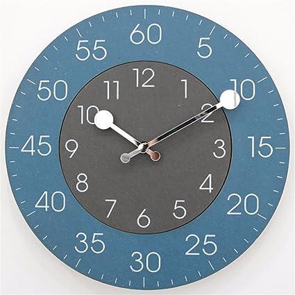 LOSTRYY Reloj de pared digital redonda silencio ver tabla simple y moderno salón dormitorio nórdico reloj