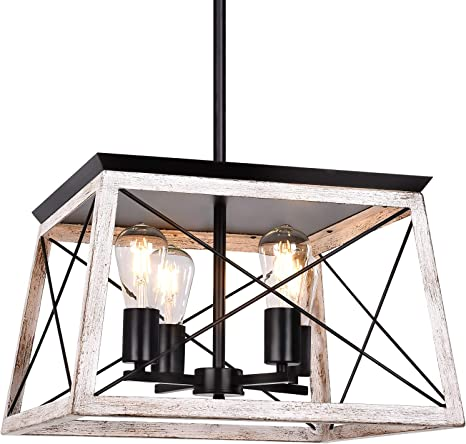 Henveton 4 Light Pendant Light Industrial Kitchen Island Lighting Fixtures Metal Vintage Farmhouse Chandeliers Ceiling Linear Fixture For Dining Toom Pool Table Rustic White Amazon Com