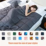 YnM Weighted Blanket (20 lbs for 190 lbs individual, 60''x80'', Queen Size), Great Sleep Therapy for People with Anxiety, Autism, ADHD, Insomnia or Stress, Organic Cotton & Glass Beads Heavy Blanket