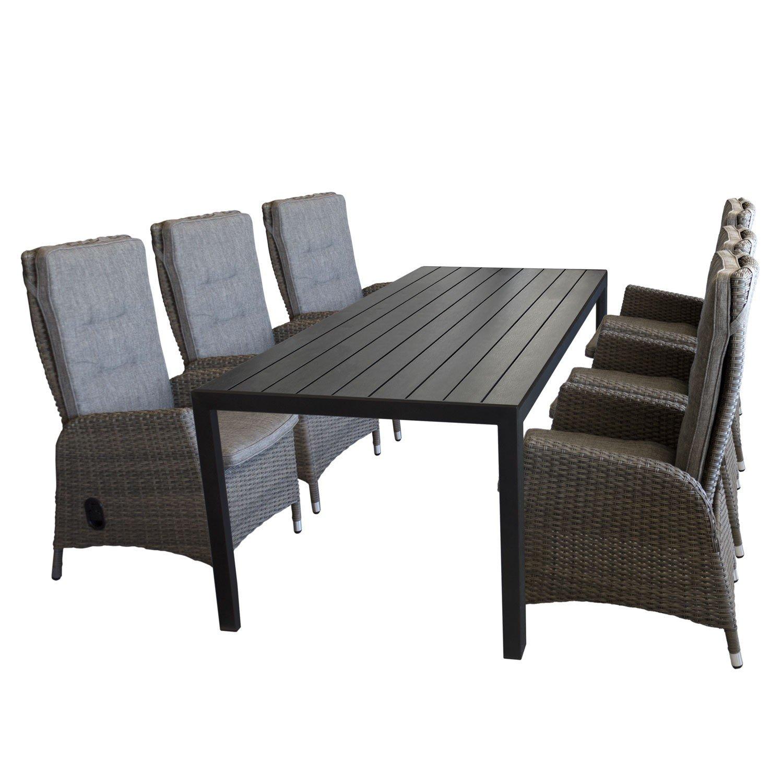 7tlg. Gartengarnitur Sitzgruppe Sitzgarnitur Terrassenmöbel Gartenmöbel Set - Gartentisch, Polywood-Tischplatte, 205x90cm, schwarz + 6x Gartensessel, Poly-Rattangeflecht, stufenlos verstellbare Lehne, grau/braun