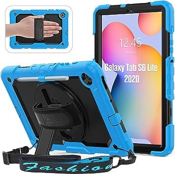 SEYMAC para Samsung Galaxy Tab S6 Lite 2020 Estuche (10.4 Pulgadas), Estuche híbrido Resistente a Prueba de caídas con Protector de Pantalla Incorporado,Azul Claro: Amazon.es: Informática