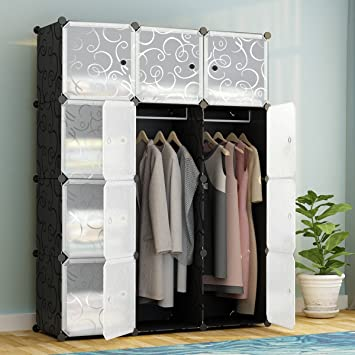 KOUSI Portable Clothes Closet Modular Plastic Wardrobe Freestanding Storage  Organizer With Doors, Large Space And