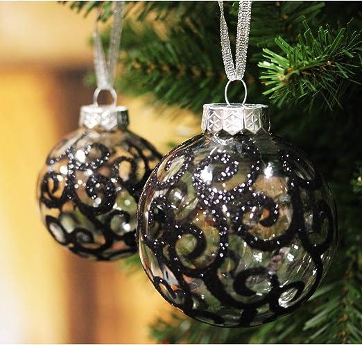 Sleetly 12pk Transparent Swirl Christmas Tree Ball Ornaments Black 3 15 Inches Amazon Ca Home Kitchen
