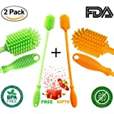 Silicone Bottle Cleaner Brush Set - Kitchen Antibacterial Bottle Cleaning Brush for Washing Water Bottle Baby Bottle Thermos Coffee Shaker Decanter Spray Glass Cup Dish Brushes