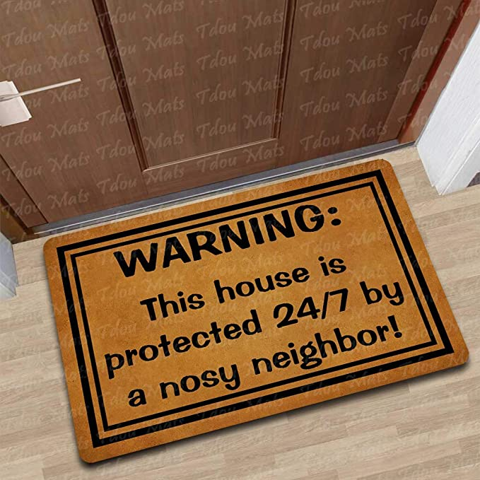 Amazon com : Tdou Funny Protected by A Nosy Neighbor Door