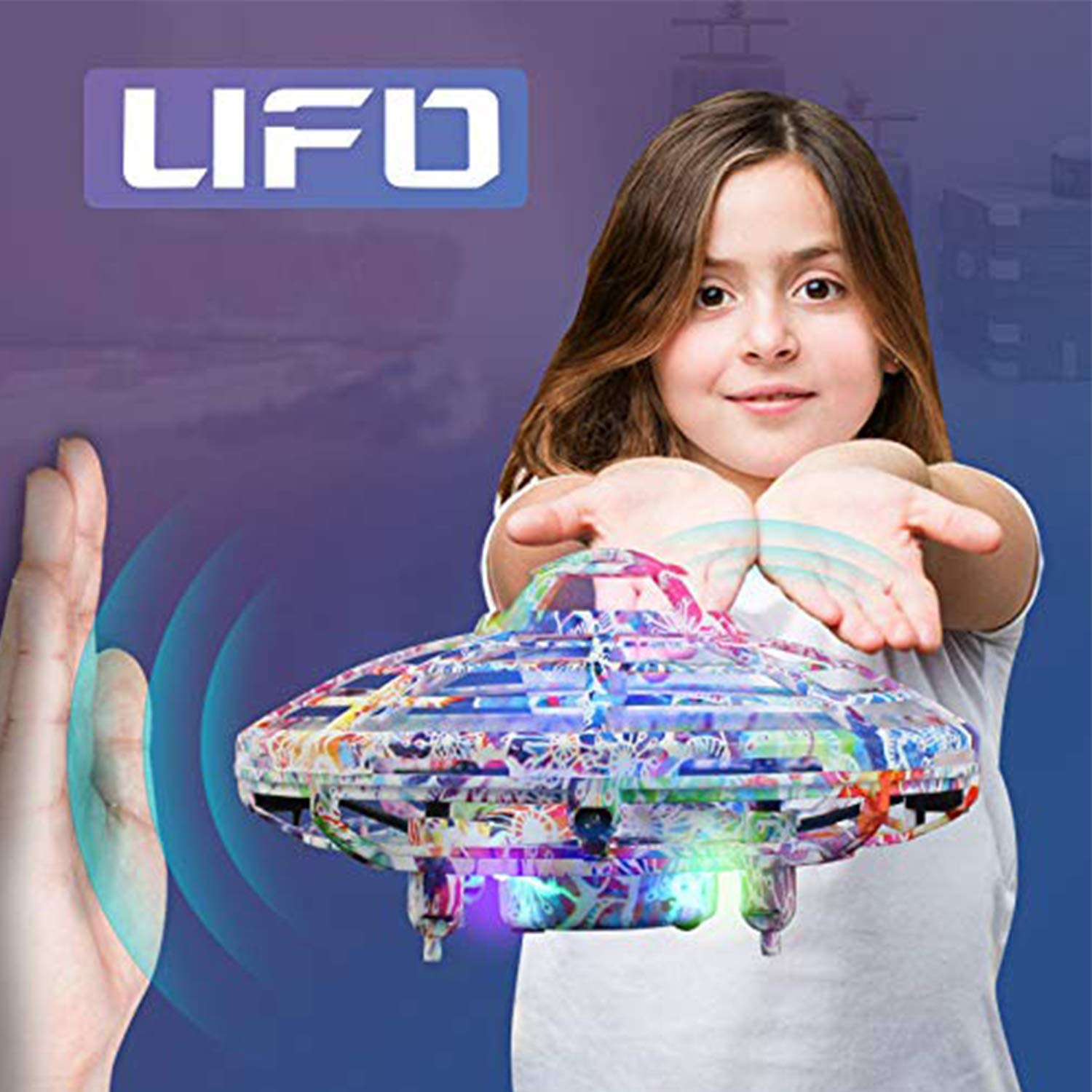 Flying Ball Toy, Cool UFO Hand-Controlled Drone Quadcopter Flying RC Toy for Boys Girls Valentines Gift,Colorful Flashing LED Lights Interactive Infrared Induction Helicopter Ball with 360Rotating by FUNSEA (Image #6)