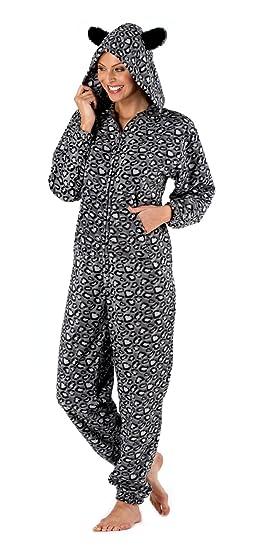 Traje de neopreno para mujer de tejido polar suave pijama Pack todo en uno de con capucha diseño de estampado de leopardo pijama Pelele 12-14 gris: ...