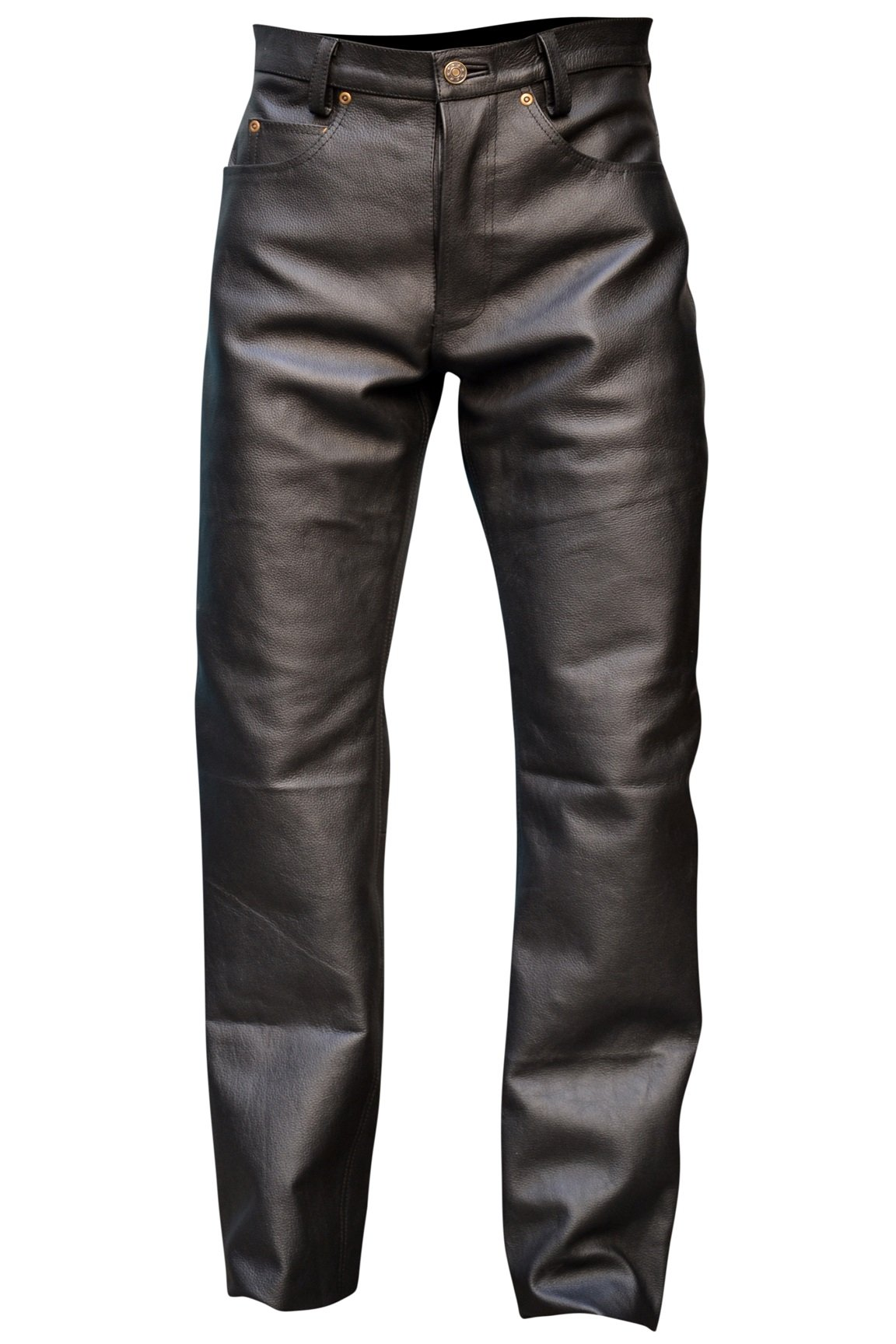 Mens Genuine Leather Pant 5 Pockets Jeans Style Button Fly Model (42 Inch Waist)