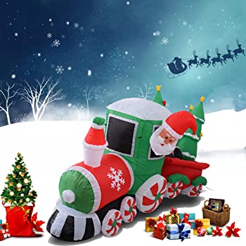 Eisenbahn Weihnachtsdeko.Led Eisenbahn Weihnachtszug Aufblasbar Weihnachtsdeko Beleuchtet