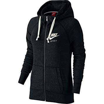 Nike W NSW Gym VNTG FZ, Women's Hoodie,Black/Sail, X-
