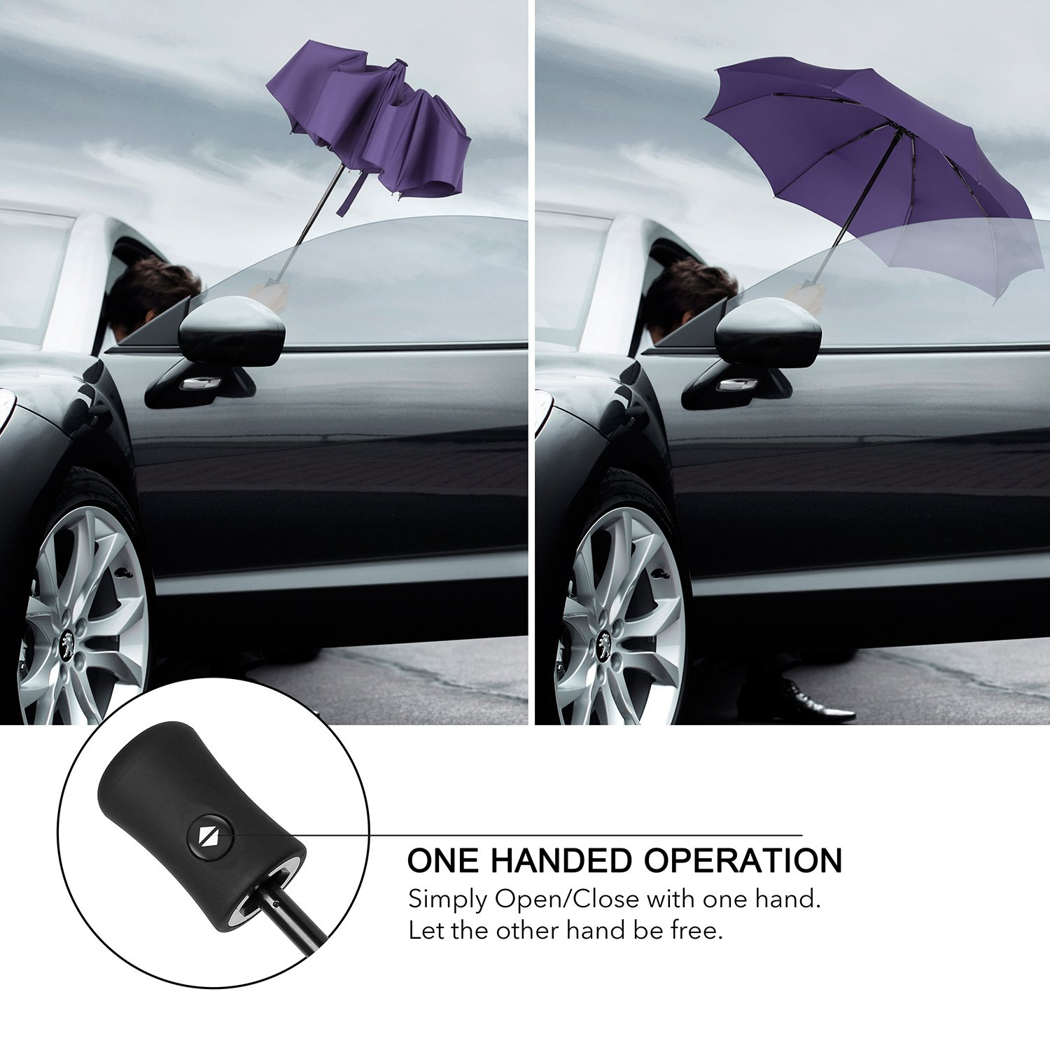 QHUMO Compact Travel Umbrella Windproof, Auto Open Close Umbrellas for Women Men by QHUMO (Image #2)