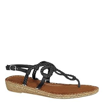 ba12a5b603519 Amazon.com  AVENUE Women s Nova Braided Demi Wedge Thong Sandal ...